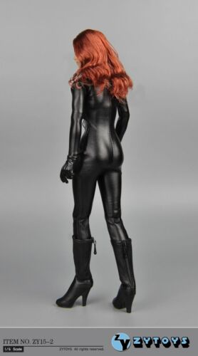 ZY TOYS Black Female Leather Tight-fitting Jumpsuit 1//6