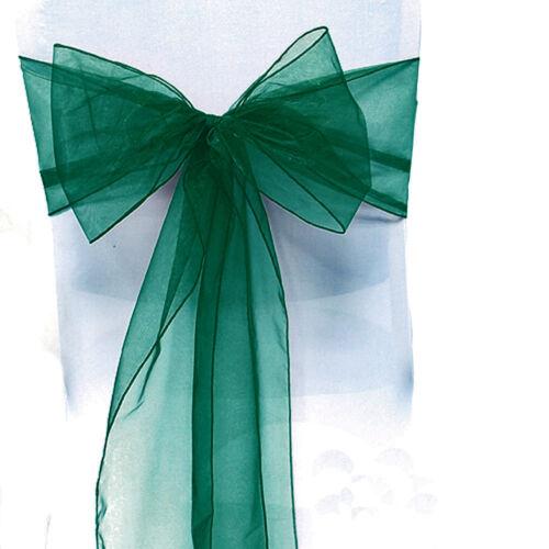 0-100Pcs Organza Sashes Chair Cover Tulle Bows Sash Tie Ribbon Wedding Party