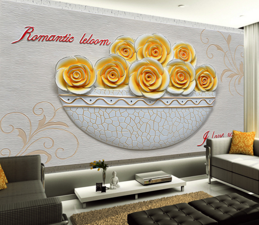 3D Gelb Flowers Bowl Paper Wall Print Wall Decal Wall Deco Indoor Murals
