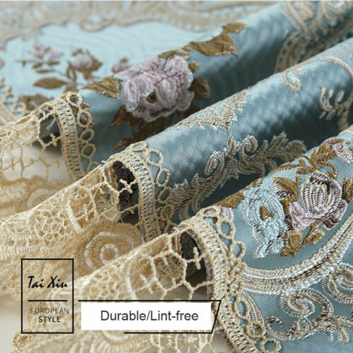 European Lace Embroidery Tablecloth Rectangle Square Blue Home Decor Table Cover