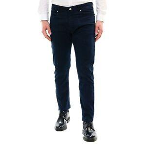 Pantalone-Uomo-Cotone-Cotone-Estivo-Blu-Slim-Fit-Elegante-Chino-Casual-5-Tasche