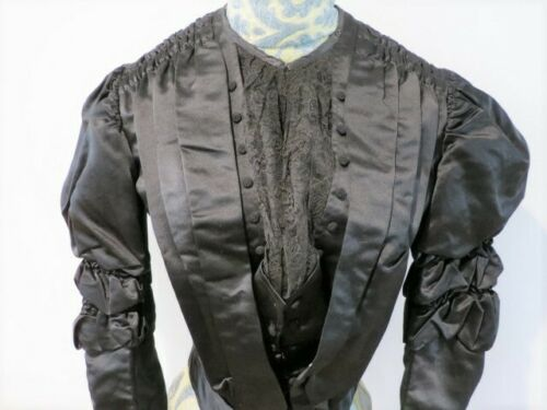 Antique 1880 - 1890's Black Silk Satin Bodice with
