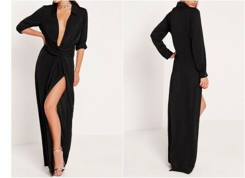 MISSGUIDED Peace /& Love Satin Wrap Maxi Dress in Black mgnn20.1