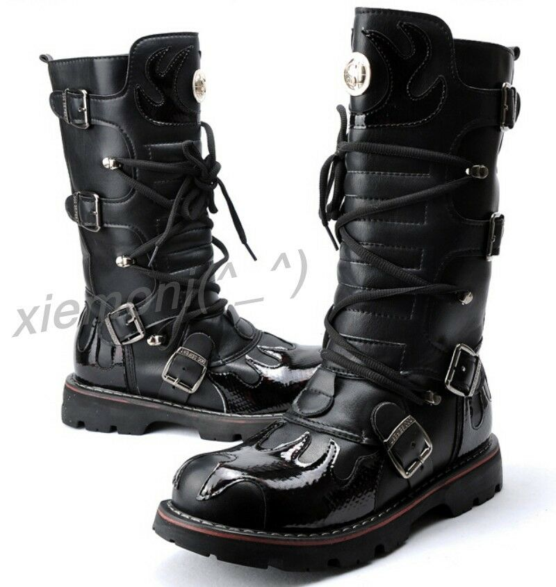 Mens Flame Totem Gothic Stage Mid Calf Boots Cowboy Combat Boots Casual shoes