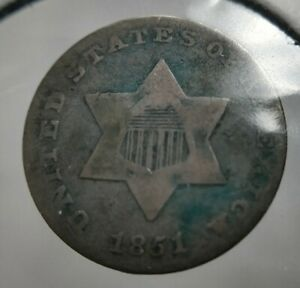 1851-P-Three-Cent-Silver-Trime-3c-Looks-Very-Fine-VF-See-Pics