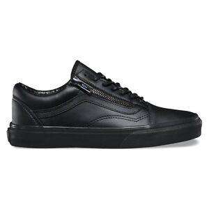 VANS Old Skool Zip Pelle Nera 100% Original Leather Black VN00018GJTL