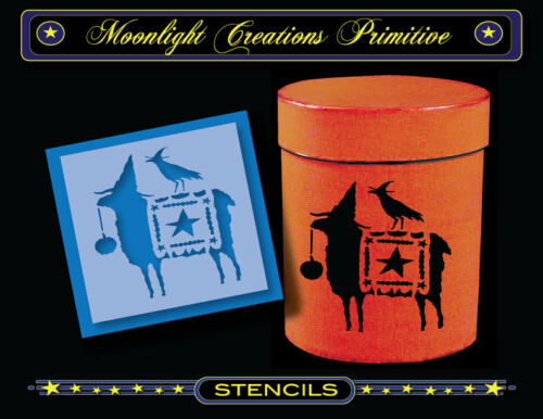 """Halloween Stencil~Vintage Style~PARADE READY~ 4/"""" x 4/"""" Crow /& Sheep Star Banner"""