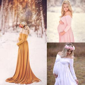 2d78d04847de8 Image is loading Pregnant-Women-Cotton-Maternity-Clothes-Gown-Photo- Photography-