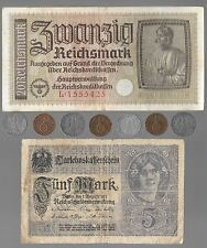 Rare Old WWI WW2 Nazi Germany War Coin Bank Note Vintage German Collection Lot