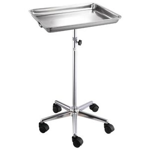 Mobile-Rolling-Mayo-Stand-Trolley-Medical-Instrument-w-Removable-Tray-amp-Base