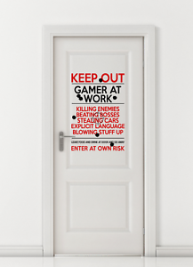 Keep Out Gamer at Work Warning Sign Xbox PS4 Computer Wall decal sticker art