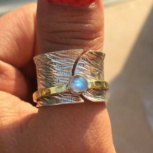 Rainbow-Moonstone-Solid-925-Sterling-Silver-Spinner-Ring-Meditation-Ring-Size-s1