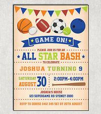 Item 2 SPORTS BIRTHDAY Invitation Football Basketball Rugby Party Invite All Star Boys