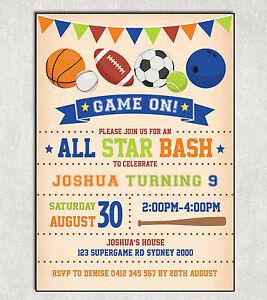 SPORTS BIRTHDAY Invitation Football Basketball Rugby Party Invite