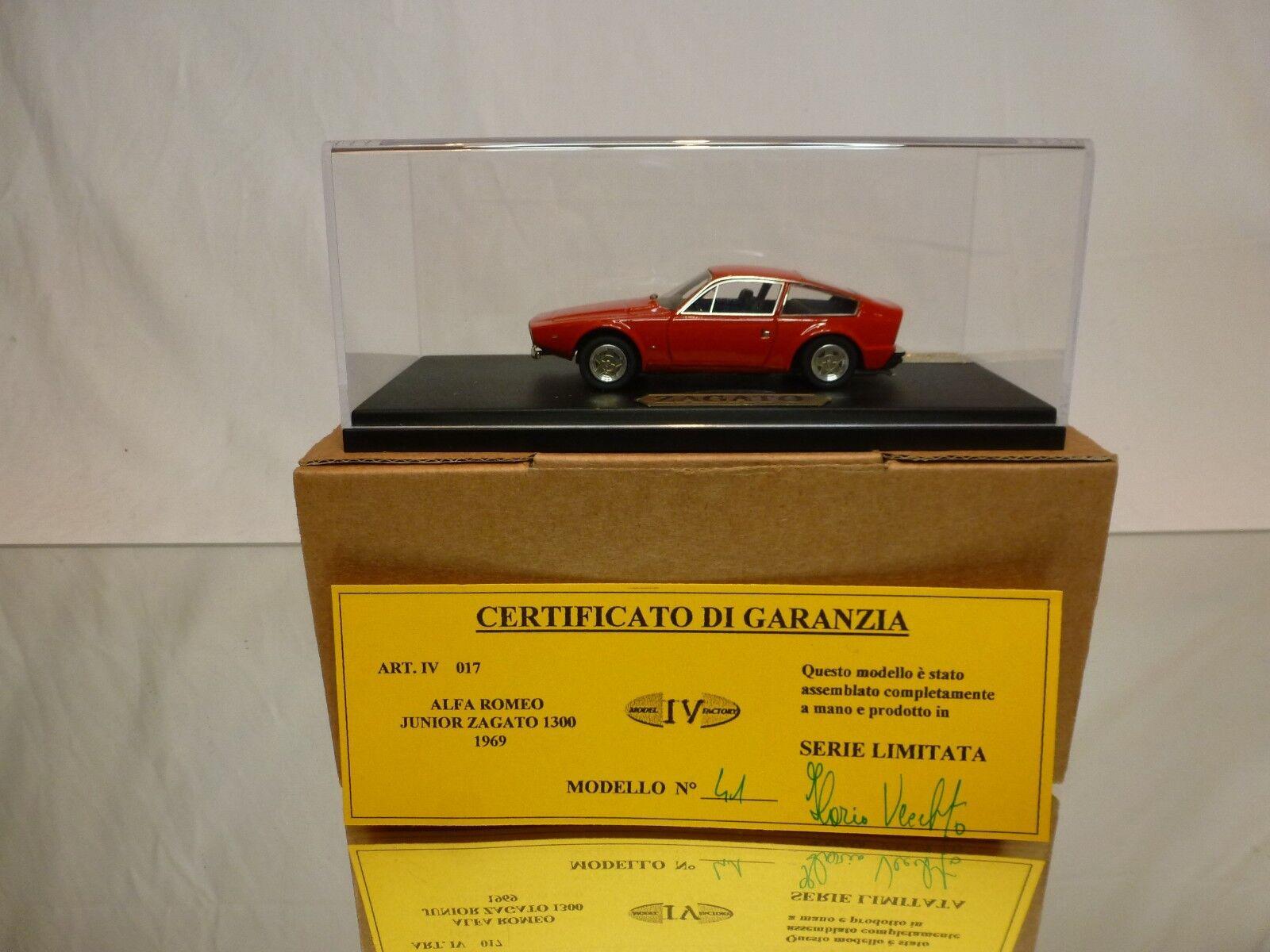 MODEL IV FACTORY 017 ALFA ROMEO JUNIOR ZAGATO 1300 - 1969 rojo 1 43 - EXCELLENT