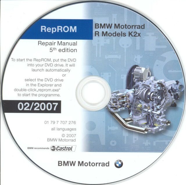 DVD MANUALE OFFICINA REPROM K2X WORKSHOP BMW R1200GS-R-RT-S-ST,HP2,R900RT 5^07