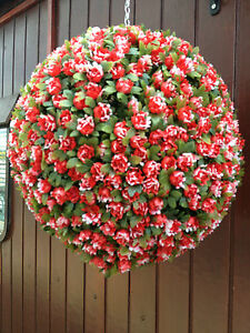 2x-23cm-artificial-red-rose-balls-new-in-premium-quality-no-need-to-water