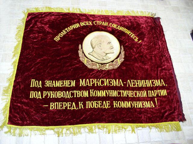 Soviet RUSSIAN FLAG BANNER LENIN velvet ORIGINAL communist PROPAGANDA CCCP USSR