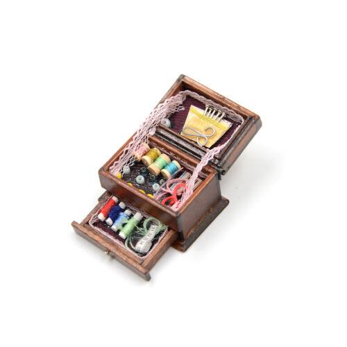 Vintage Sewing Needlework Needle Kit Box 1:12 Dollhouse Miniature Mini Decor PL