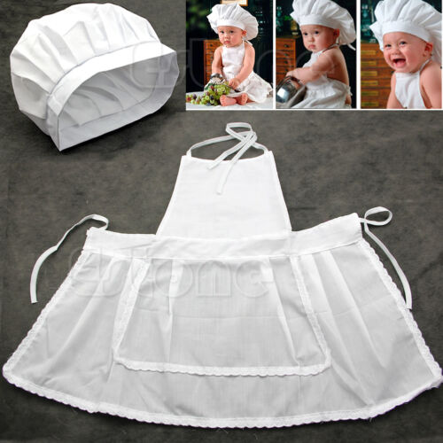 Cute White Photos Photography Prop Newborn Infant Hat Apron Baby Cook Costume