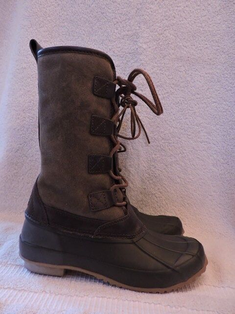 f36ee9074 NEW  398 TORY BURCH ARGYLL SHEARLING RAIN WINTER SNOW BOOT LACE UP 6 OLIVE