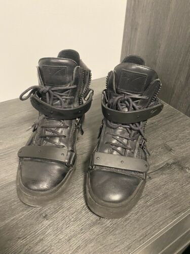 Giuseppe Zanotti High Top Sneaker Shoes Black Auth