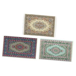 3x 1//12 Dollhouse Miniature Turkish Style Rug Embroidery Cloth Mat Area Rug