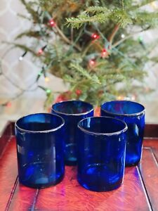 Mexican Hand Blown Glass Cobalt Blue Double Old Fashioned Rocks Glass Set 4