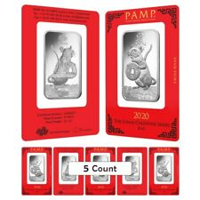Lot of 5 - 1 oz PAMP Suisse Year of the Mouse / Rat Platinum Bar (In Assay)