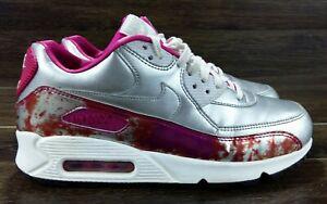 Details about Nike Air Max 90 PRM QS Shoe size 8.5 744596 001 Metallic SilverWhite Pink Pow