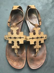 325c485920c5 TORY BURCH Phoebe Chandler Flat Thong Sandals Royal Tan Sz 11 Miller ...