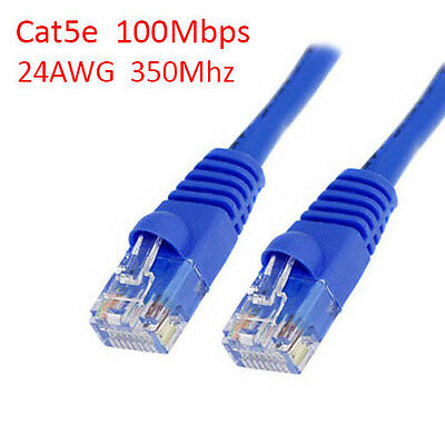 15ft CAT5e Ethernet Network LAN Patch Cable Cord 350 MHz Blue 100 Pack Lot