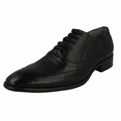 R28A Malvern A2R129 Mens Black Brogue Style Lace Up Shoes