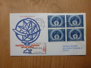 ITALY-1967-GEOGRAPHIC-SOCIETY-Blk-4-STAMPS-REGISTERED-FDC