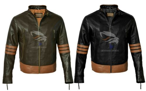 Men X Men Wolverine Origin Biker Moto Brown Slim Fit Real Genuine Leather Jacket