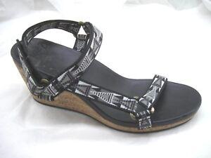 Teva-9-5M-black-gray-cork-wedges-womens-ladies-sandals-shoes-1011533