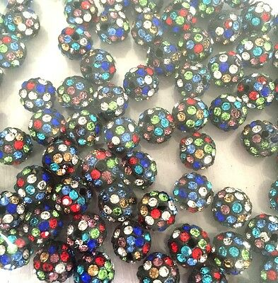 Shamballa Beads 100 Pcs Crystal Pave Disco Balls Fit Braclet 10MM yellow 5 row