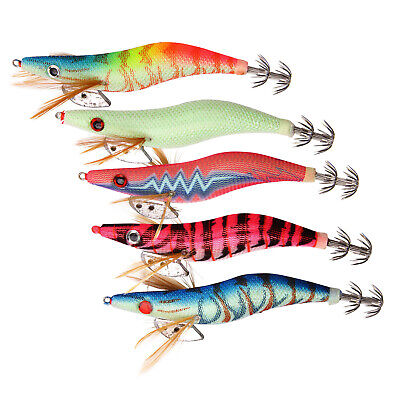 10Pcs Squid Jigs Luminous Saltwater Lures Squid Bait Jig Hook 2.5# 3.0# 3.5#