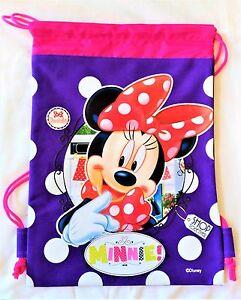 f2c6537f23f Image is loading Purple-Minnie-Mouse-Drawstring-Backpack-Disney-Girl-School-