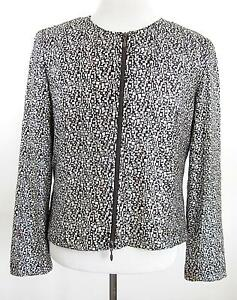 1aa57bfa Joseph Ribkoff Brown Metallic Silver Full Zip Jacket Top Size 14 | eBay