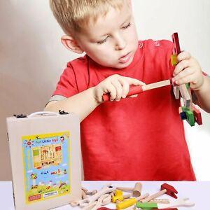 42PC Enfants en Bois Bricolage Work Bench outil d'apprentissage Set Toy Box Semblant Jeu de rôle