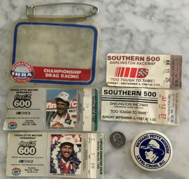 RARE VTG LOT NASCAR COCA-COLA 4 TICKET STUBS RICHARD PETTY