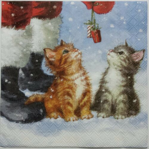 CATS KITTENS WINTER 2 single LUNCH SIZE paper napkins for decoupage 3-ply