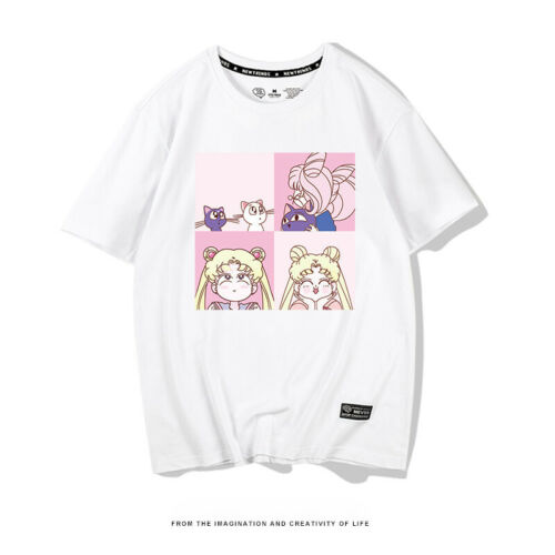Anime Sailor Moon Summer Girl T-shirt Loose Cotton Student Tops Tees Cosplay