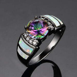 image is loading round cut mystic rainbow topaz opal wedding band - Black Opal Wedding Rings