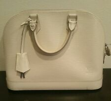 Louis Vuitton White Epi Leather Alma MM Top handle Authentic Handbag