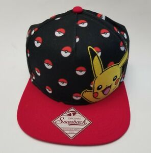 6af4e99c7d2 Image is loading Nintendo-Pokemon-Pikachu-Snapback-Baseball-Cap-Hat-Black-