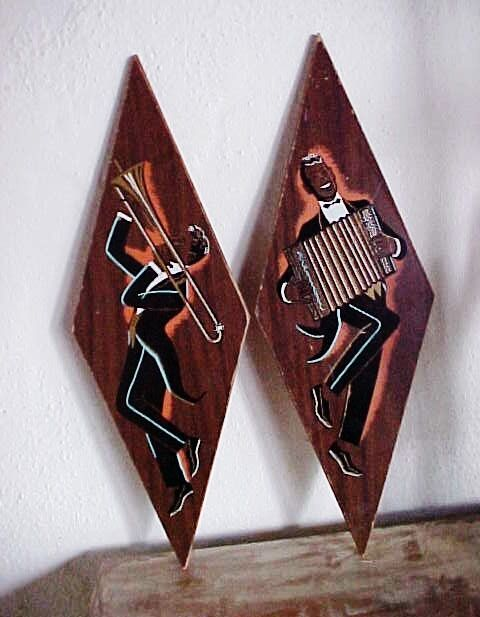 1950s PAIR JAZZ  THEMED PLAQUES  ACCORDIONIST  & TROMBONIST  HAND COLORED-COOL!