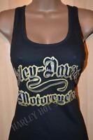 Harley Davidson Black Gold Script Racerback Tank Top Shirt