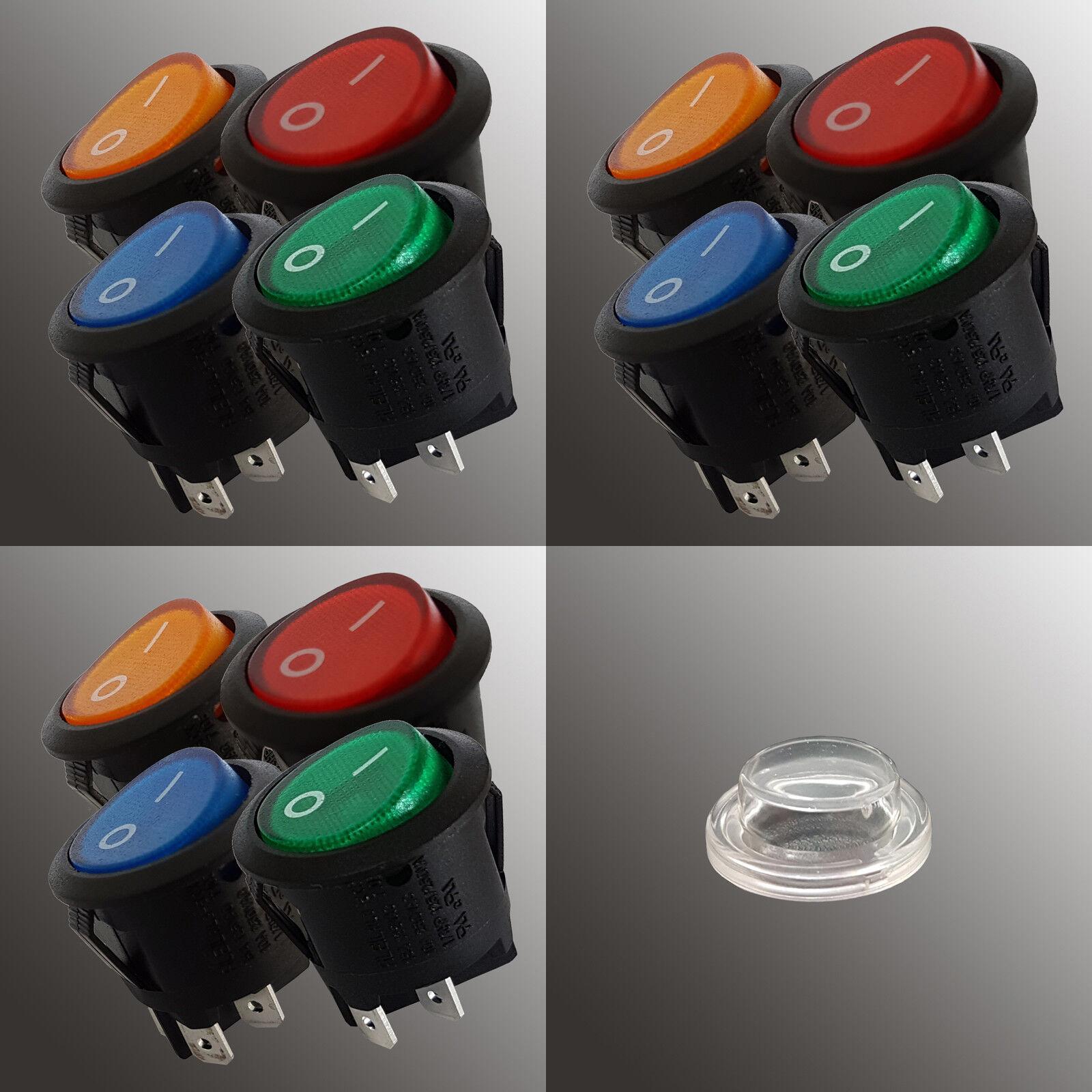 Wippschalter Ø22 rund beleuchtet rot grün gelb blau LED I 0 Snap In 12V KFZ | Outlet Store